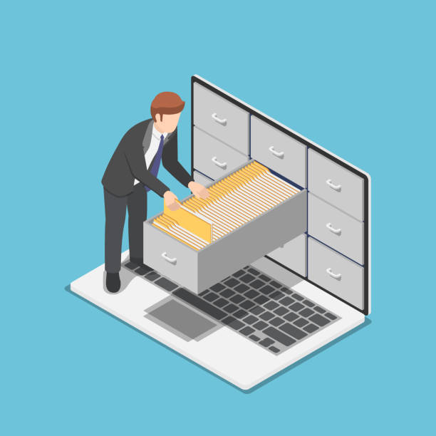 isometric businessman manage document folders in cabinet inside the laptop screen - ring binder stock illustrations