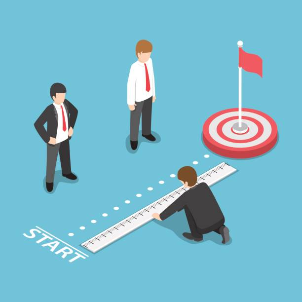 Isometric Businessman Measuring Distance Between Start Point and Target Flat 3d Isometric Businessman Measuring Distance Between Start Point and Target. Business Target Analysis Concept instrument of measurement stock illustrations