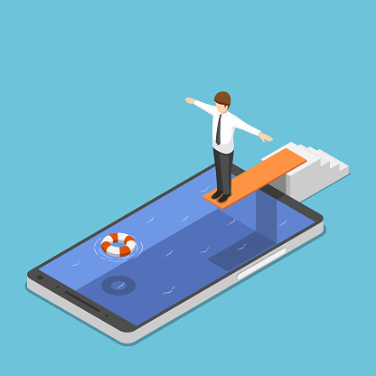 Isometric businessman on springboard ready to jump in the smartphone pool