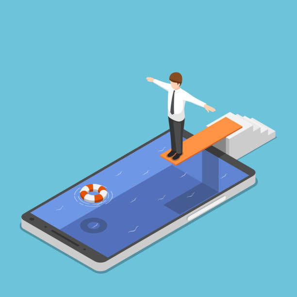Isometric businessman on springboard ready to jump in the smartphone pool Flat 3d isometric businessman on springboard ready to jump in the smartphone pool. Smartphone addiction concept. diving into water stock illustrations