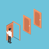 Flat 3d isometric businessman opening the door and facing other doors. Business opportunities and career concept.
