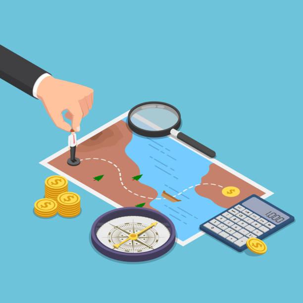 ilustrações, clipart, desenhos animados e ícones de isométrico empresário planejando o caminho para o sucesso de mapa do tesouro - mapas de tesouro