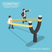 Isometric businessman preparing to fly by slingshot catapult