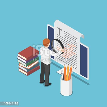 istock Isometric businessman proofreading a document on pc monitor 1159141192