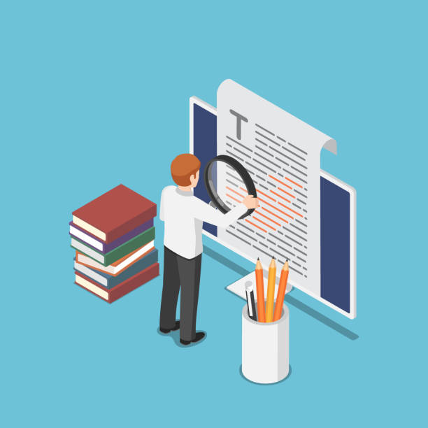 Isometric businessman proofreading a document on pc monitor vector art illustration