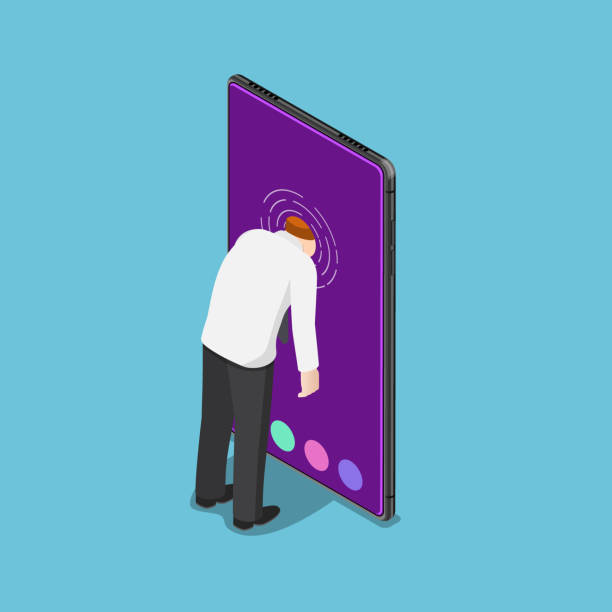 Isometric businessman push his head into smartphone Flat 3d isometric businessman push his head into smartphone. Smartphone addiction concept. addict stock illustrations