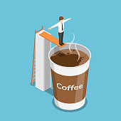 Flat 3d isometric businessman ready to jump into a cup of coffee. Coffee break concept.