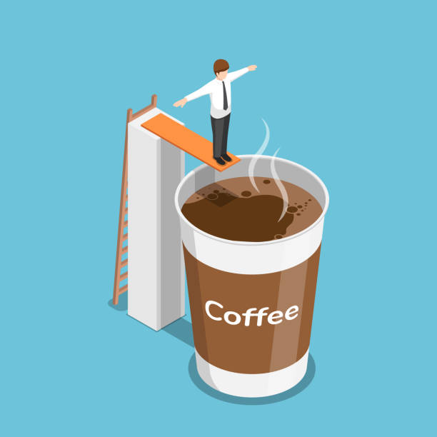 Isometric businessman ready to jump into a cup of coffee vector art illustration