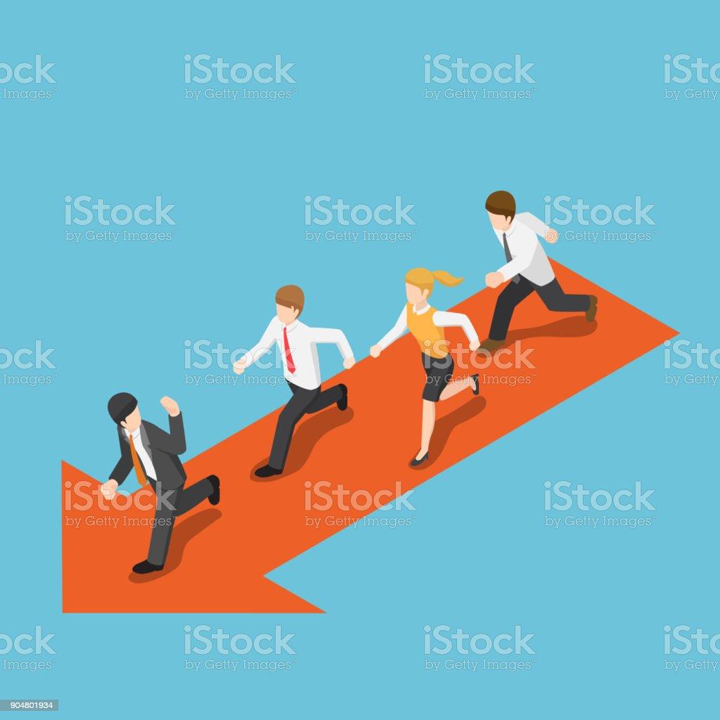 Isometric businessman run following leader. vector art illustration