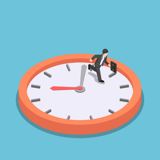 Isometric businessman running on big clock face Flat 3d isometric businessman running on big clock face. Rush hour and dead line concept. overworked stock illustrations