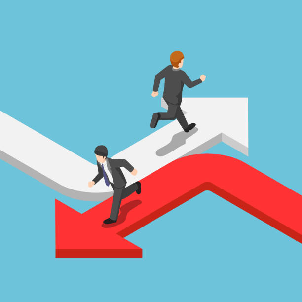 Isometric businessman running on the different arrow in the opposite direction vector art illustration