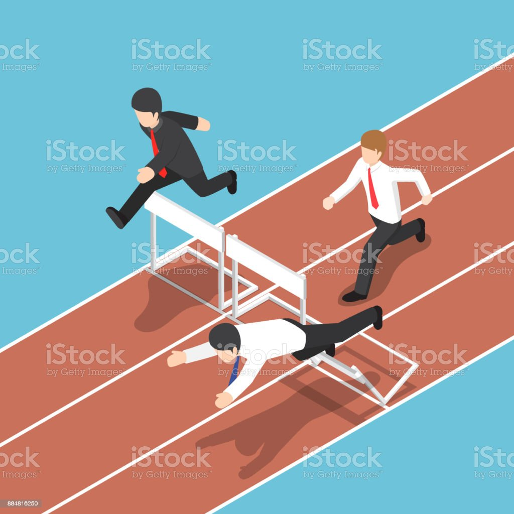 Isometric businessman running with obstacle in hurdle race. vector art illustration