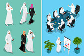Isometric businessman Saudi Arab man and woman character design with different poses, car on blue background isolated vector illustration. Arabic Business man on Traditional National Muslim Clothes