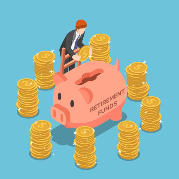 Isometric businessman saving money in piggy bank vector art illustration