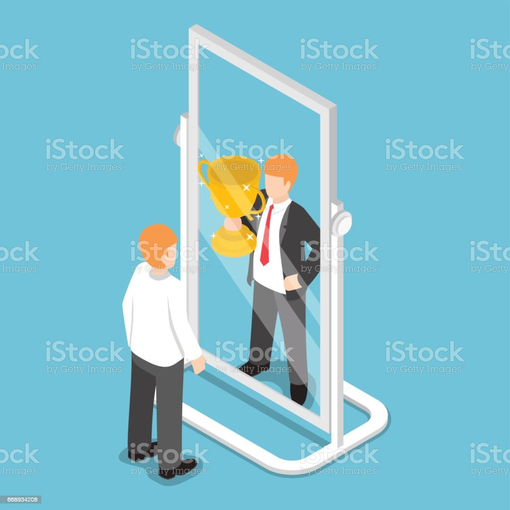 Isometric businessman see himself being successful in the mirror vector art illustration