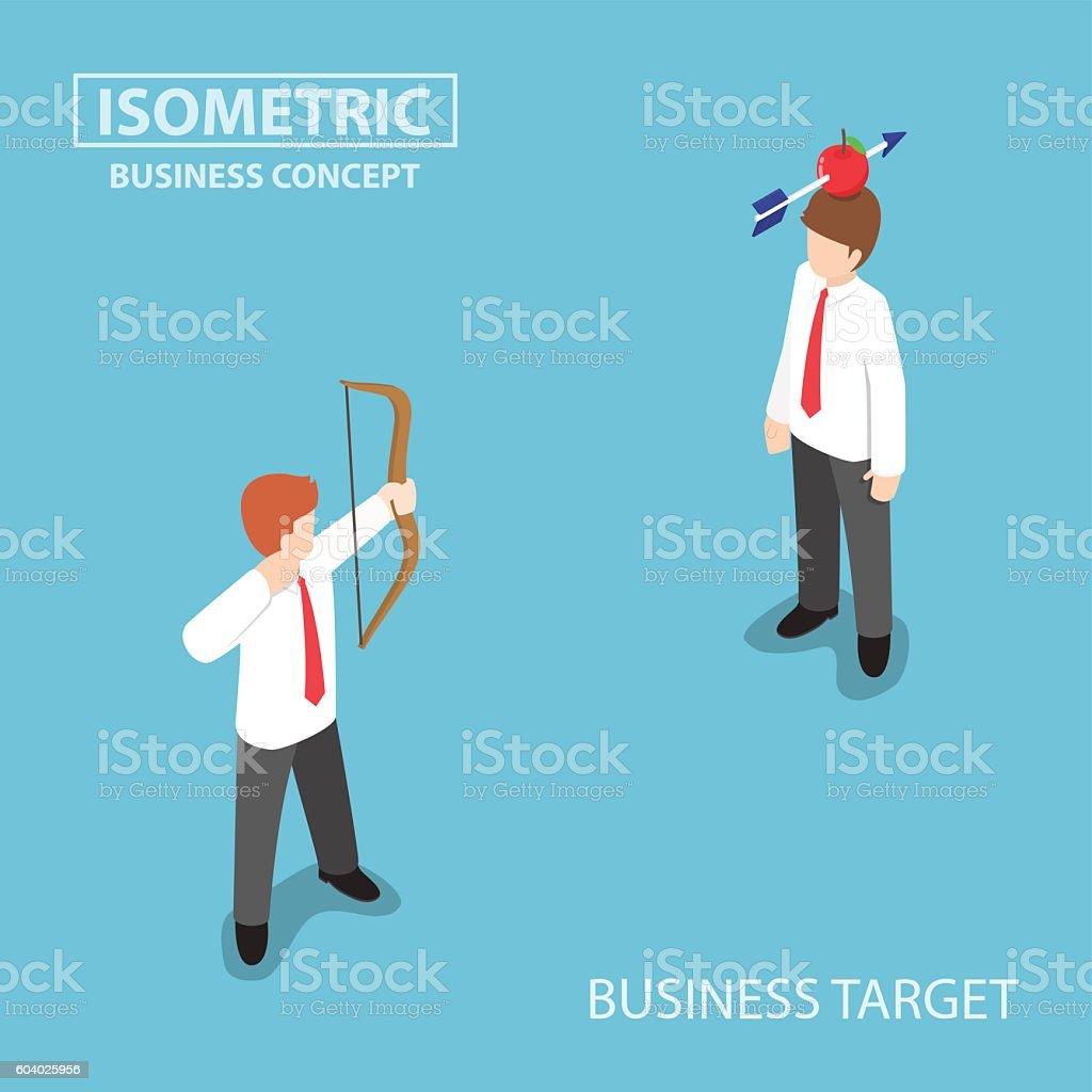 Isometric businessman shoot an apple on colleague head vector art illustration