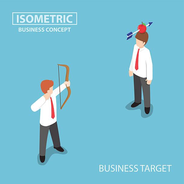 isometric businessman shoot an apple on colleague head - kopfschüsse stock-grafiken, -clipart, -cartoons und -symbole