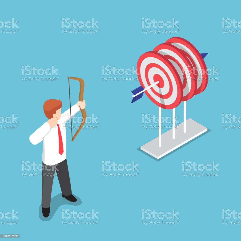 Isometric businessman shooting at the center of three target by one arrow. vector art illustration