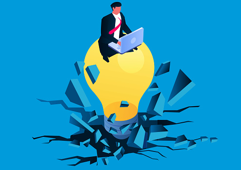 Isometric businessman sitting and working on light bulb breaking through the ground, innovative business idea