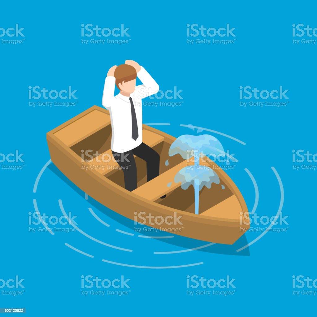 Isometric businessman sitting in leaking boat. vector art illustration