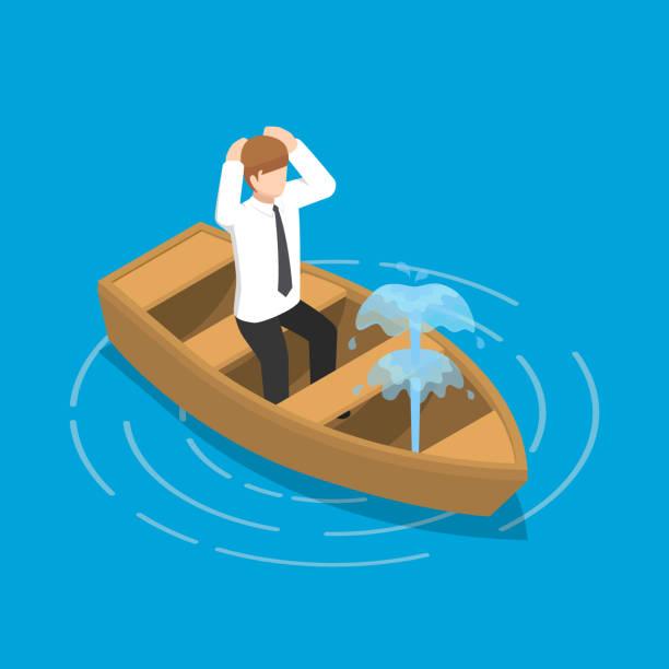 isometrische geschäftsmann in den austretenden boot sitzen. - gesunken stock-grafiken, -clipart, -cartoons und -symbole