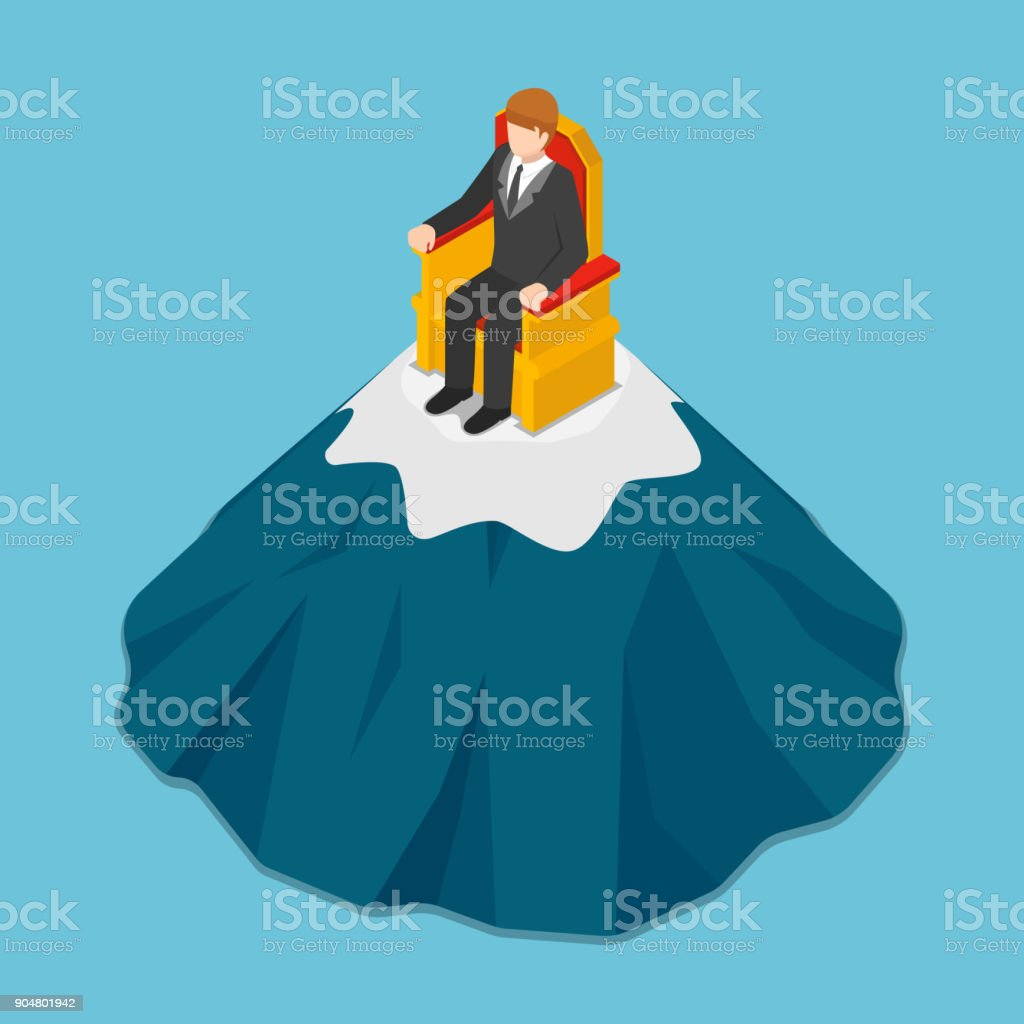 Isometric businessman sitting on the throne at top of mountain. vector art illustration
