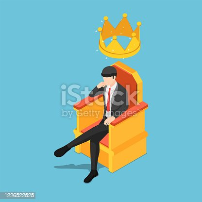 Flat 3d isometric businessman sitting on throne with crown over his head. Business leader and success concept.