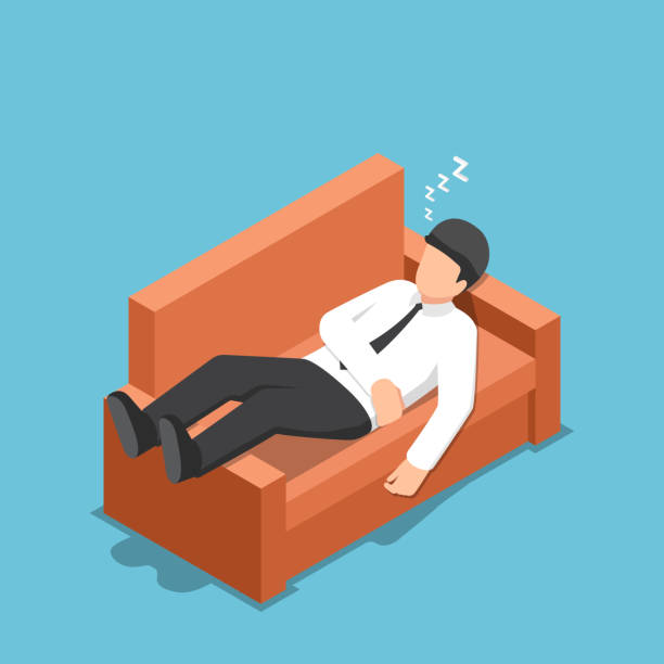 Isometric businessman sleeping on the couch Flat 3d isometric businessman sleeping on the couch. relaxing concept. man sleeping stock illustrations