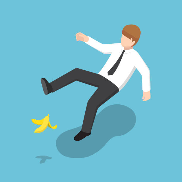 Isometric businessman slipped on a banana peel. Flat 3d isometric businessman slipped on a banana peel. Business accident concept. mistake stock illustrations