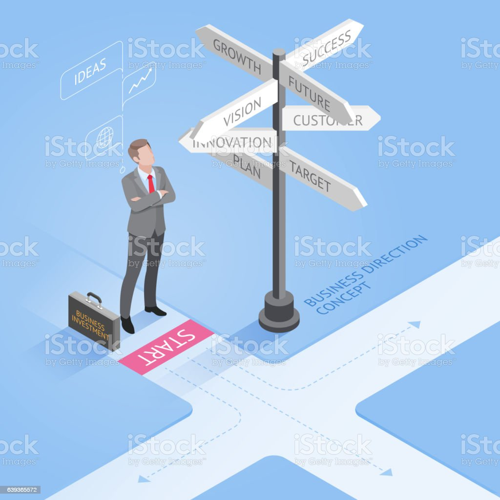 Isometric businessman standing at a crossroad and looking directional signs. vector art illustration
