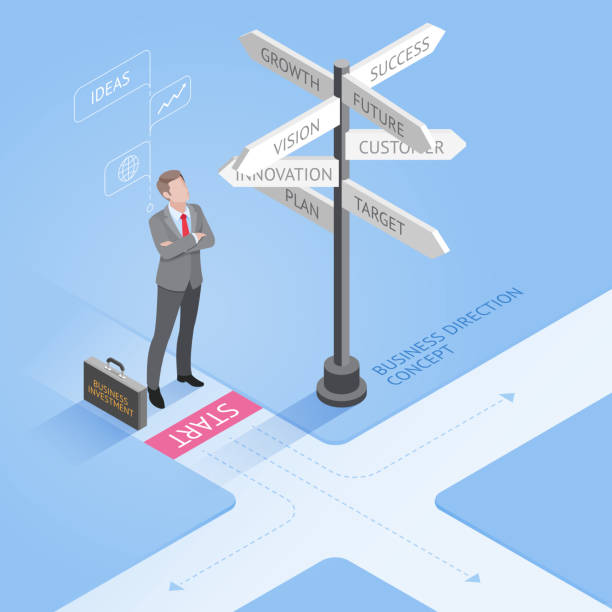 isometric businessman standing at a crossroad and looking directional signs. - 方向標誌 幅插畫檔、美工圖案、卡通及圖標