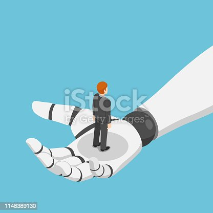 Flat 3d isometric businessman standing in ai robot hand. artificial intelligence and machine learning concept.