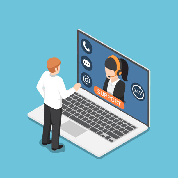 Isometric businessman standing in front of laptop with online customer service vector art illustration