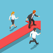 Isometric businessman standing on red arrow at leader position.