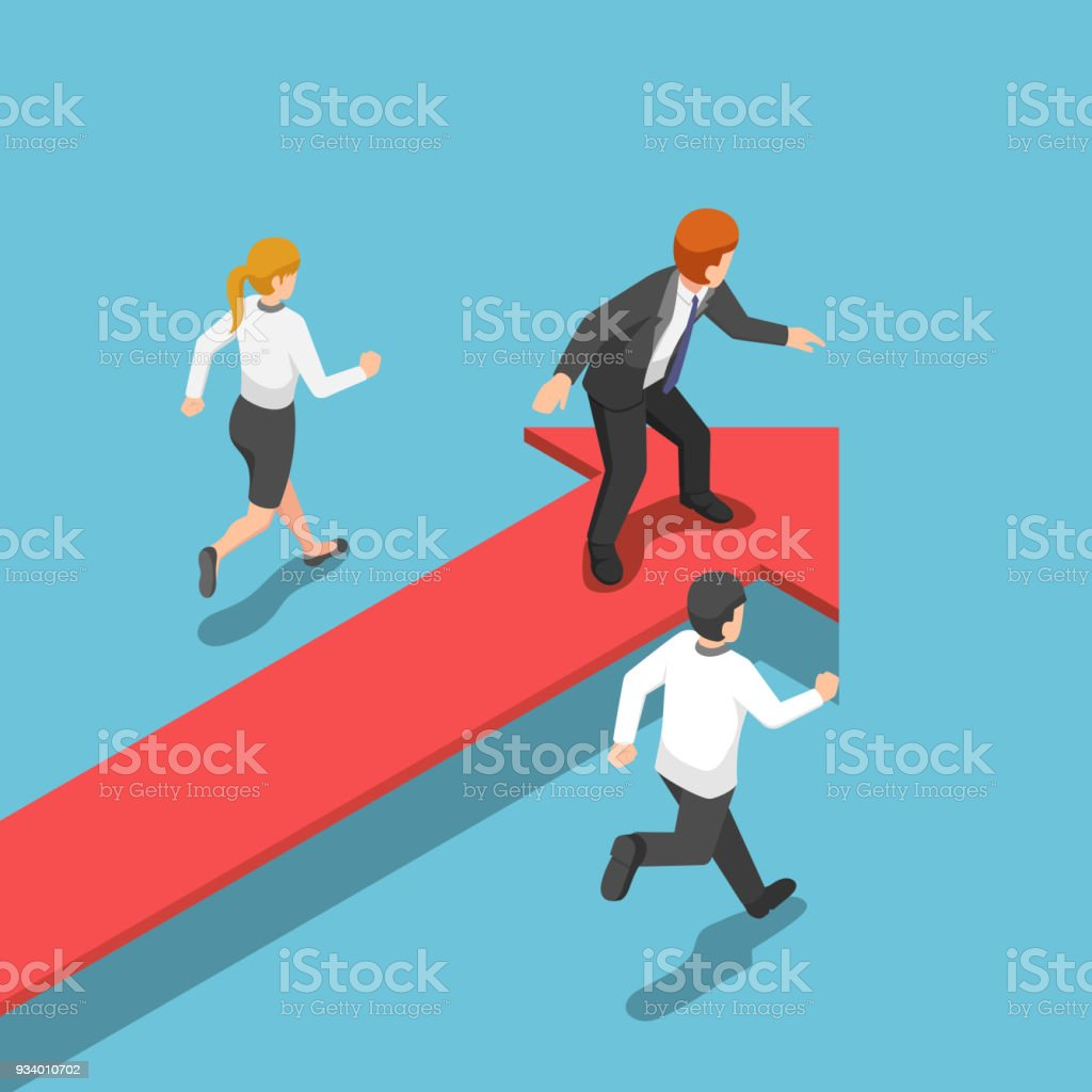 Isometric businessman standing on red arrow at leader position. vector art illustration