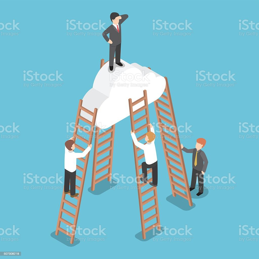 Isometric businessman standing on the cloud and look around vector art illustration