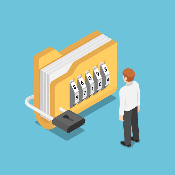 Isometric businessman standing with folder with lock Flat 3d isometric businessman standing with folder with lock. Data security concept. encryption stock illustrations
