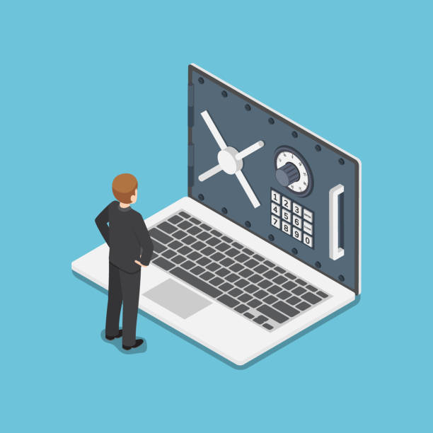 Isometric businessman standing with laptop and security door on monitor vector art illustration