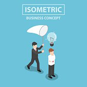 Isometric businessman stealing light bulb of idea