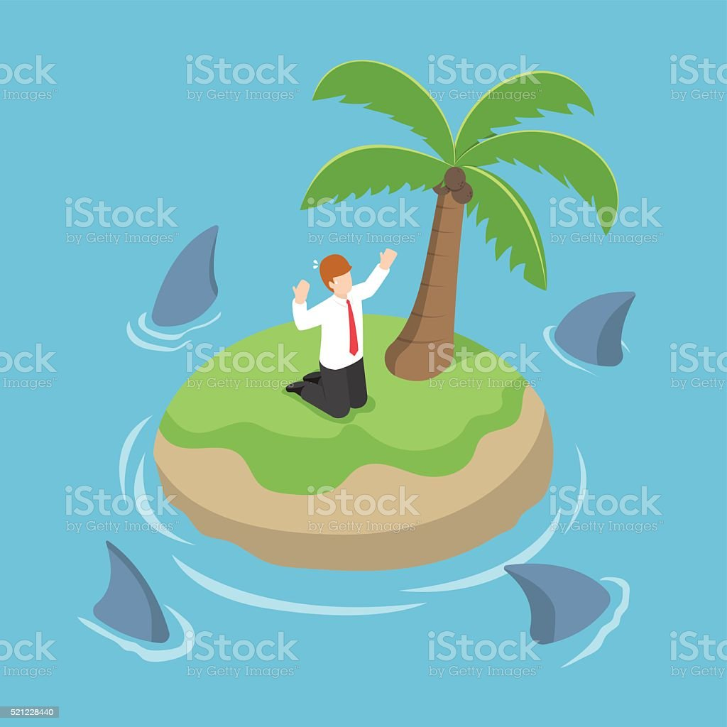 Isometric businessman stranded in an island surrounded by shark vector art illustration