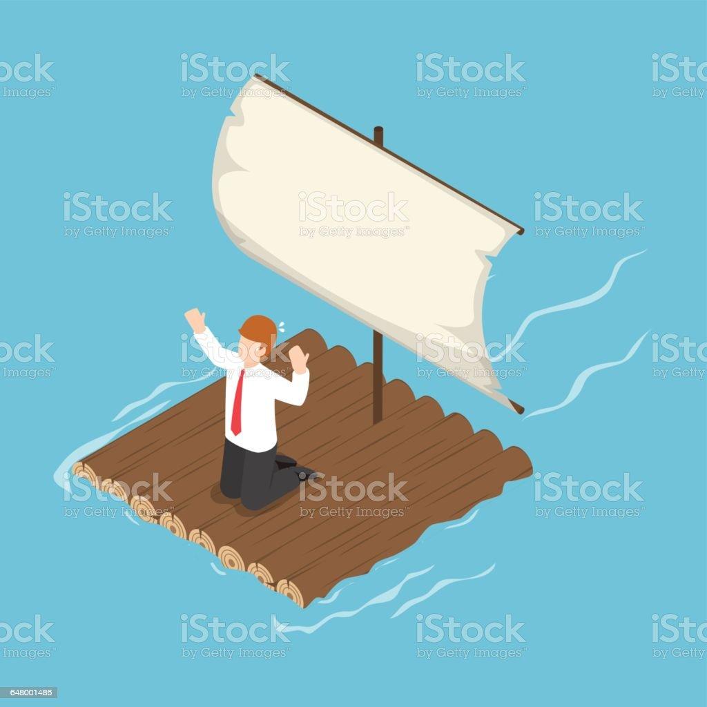 Isometric businessman stranded on wooden raft vector art illustration
