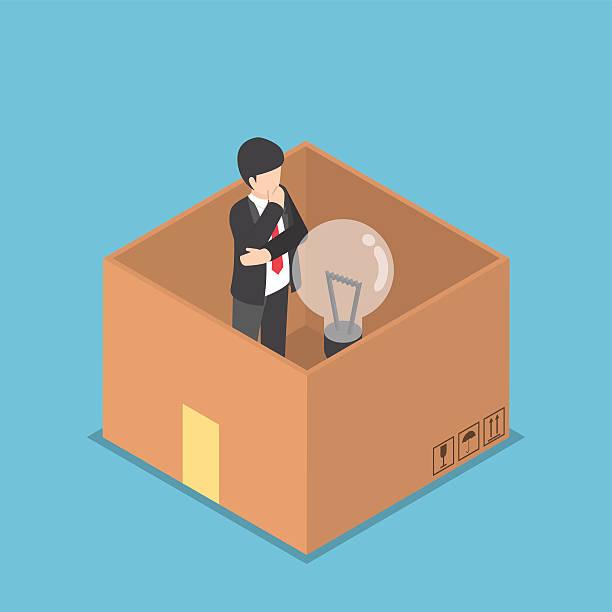 ilustrações de stock, clip art, desenhos animados e ícones de minibarra de ferramentas homem de negócios a pensar dentro da caixa - box separate life