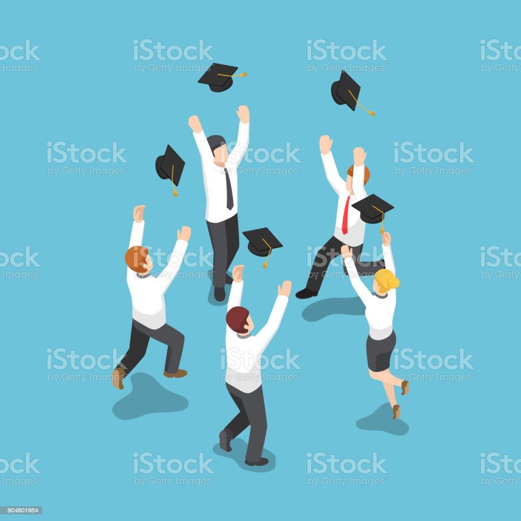 Isometric businessman throw graduation hat in the sky. vector art illustration