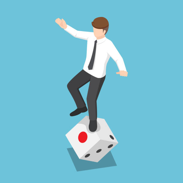 Isometric businessman try to standing on rolling dice vector art illustration