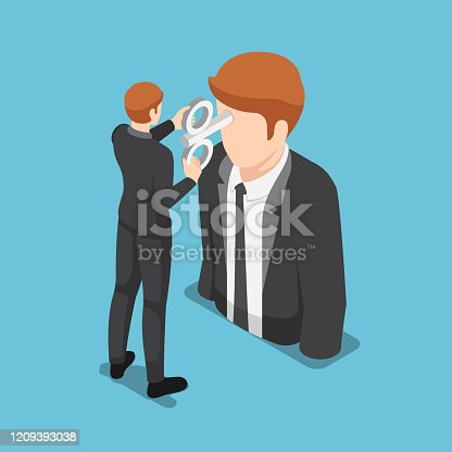 Flat 3d isometric businessman turning a windup key on businessman head. Business motivation concept.