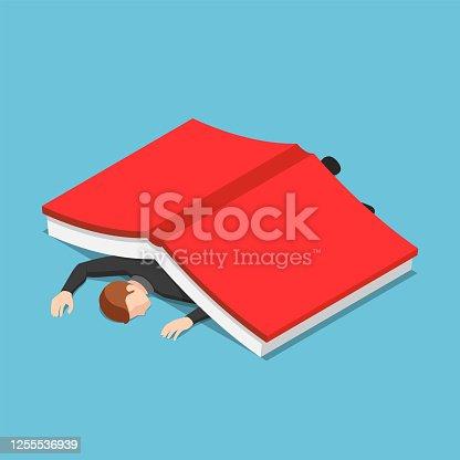 istock Isometric businessman under the big book 1255536939