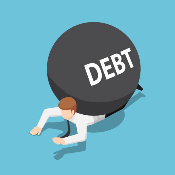 Isometric businessman under the debt ball vector art illustration