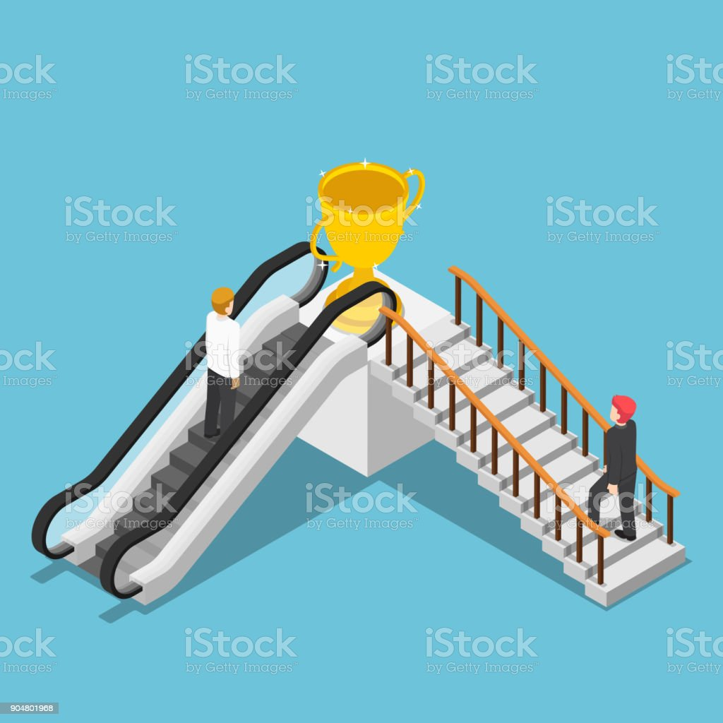 Isometric Businessman Use Different Way To Success By Escalator And ...