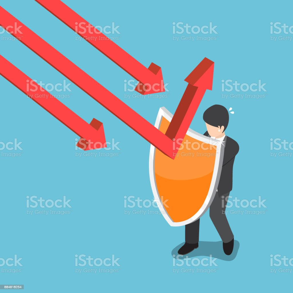 Isometric businessman use shield to protect falling graph. vector art illustration
