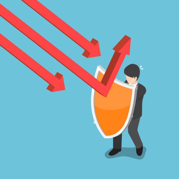 stockillustraties, clipart, cartoons en iconen met isometrische zakenman gebruiken schild te beschermen van dalende grafiek. - recessie